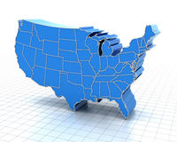 Extruded Map Of Usa With State Borders Stock Images