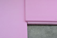 Extruded polystyrene foam boards laid on balcony concrete floor Royalty Free Stock Image