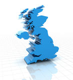 Extruded United Kingdom UK map Stock Images