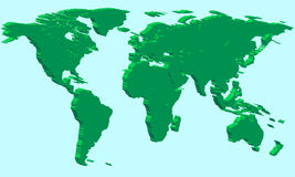 Extruded world map Royalty Free Stock Images