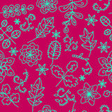 Exture of flower and plant. hand drawing. Texture of flowers and plants. seamless pattern. contour drawing. bright colors. pink outline. pink background. good Royalty Free Stock Photos