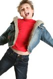 Exuberant Child Jumping Stock Image