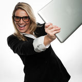 Exuberant excited young businesswoman Royalty Free Stock Image