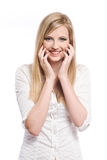 Exuberant young blond woman. Stock Images
