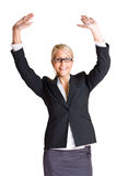 Exuberant young business woman. Stock Photos