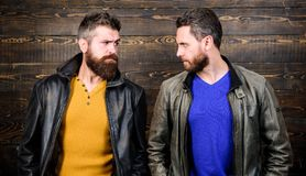 Exude masculinity. Men brutal bearded hipster. Confident competitors strict glance. Masculinity concept. Masculinity. Attributes. Brutality confidence and stock photos