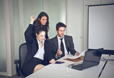 Exult. Group of office workers exult Royalty Free Stock Photography