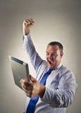 Exultando o homem de negócios Fotografia de Stock Royalty Free