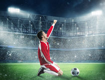 Exultation of a football player Stock Photos