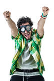 Exulting. A guy wearing casual clothes and on old pair of goggles over a white bachground Stock Image