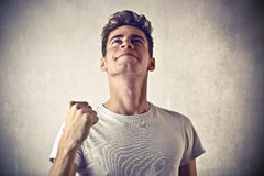 Exulting young man Royalty Free Stock Photos