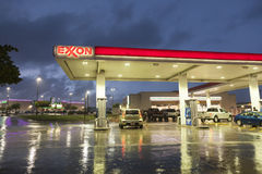 Exxon Gas station at night Stock Photography