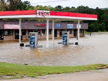 Exxon Livingston Texas Flooding Hurricane Harvey. Flooding at US Hwy 190 in Livingston, Texas during hurricane harvey Royalty Free Stock Images
