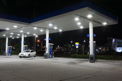 Exxon Mobil Gas Station at Night Stock Photo