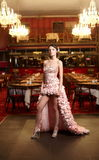 Exy bride in unusual wedding dress in restaurant Royalty Free Stock Photos