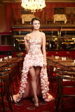 Exy bride in unusual wedding dress in restaurant Stock Images