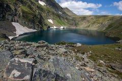 Eye湖,七个Rila湖, Rila山 免版税库存照片