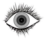 Eye. Mandala style  black on white Stock Photos
