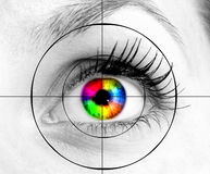 Eye. Colourful human eye and target Stock Photography