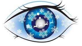 Eye. Christmas eye - a winter theme background Vector Illustration