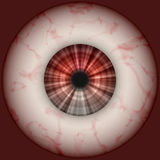 The eye. Spooky eye in front of red background royalty free illustration