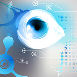 Eye. Technological eye background design, high-tech electronic robot eye illustration, with technology elements Stock Photo