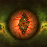 The Eye. Creepy illustration of a lidless bloodshot eye, possibly a dragon eye Stock Photography