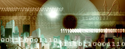 The eye. Website header  regarding, internet and new technology of communication but also hacker and spy Stock Image