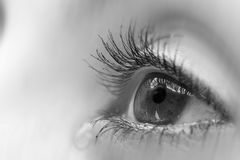 Eye. An eye crying black and white Stock Images