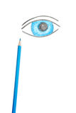 Eye. Blue eye drawing on a white background Stock Photography