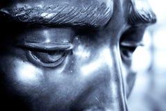 Eye. Closeup of eyes of a metallic statue stock photo