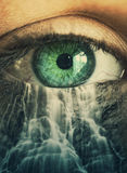 Eye And Waterfall Royalty Free Stock Photo