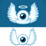 Eye with angel wings and banner