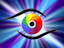 Eye Aperture Represents Color Guide And Chromatic Stock Photography