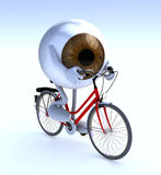 Eye with arms and legs riding a bycicle Royalty Free Stock Image