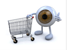 Eye with arms and legs and shopping cart, Stock Photography