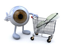 Eye with arms and legs and shopping cart with eyeglasses stock illustration