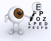 Eye with arms and legs showing with a magnifying glass the table Royalty Free Stock Images