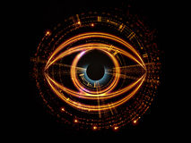Eye of artificial intelligence. Backdrop on the subject of modern technologies, mechanical progress, artificial intelligence, virtual reality and digital imaging