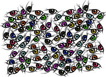 Eye background. A lot of color eyes Stock Photography