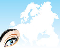 Eye on a background the map of Europe Royalty Free Stock Photo