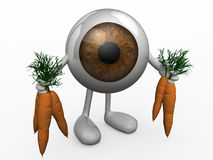 Eye Ball With Arms And Legs And Carrots Royalty Free Stock Images