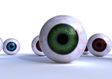 Eye balls. Isolated 3d colorful eyes on white background Royalty Free Stock Images