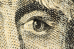 Eye on  banknote of dollar USA, Macro Stock Images