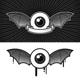 Eye with bat wings and banner. Eye with bat wings, banner and drops royalty free illustration