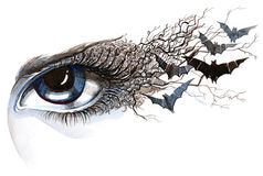 Eye with bats Royalty Free Stock Image