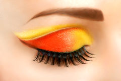 Eye with beautiful fashion brigh makeup royalty free stock photo