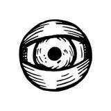 Eye big vector sketch isolated. Black Stock Photo