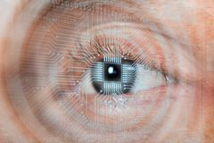 Eye With Binary Digits royalty free stock photos