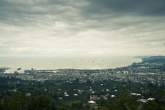 Eye-bird panorama of the Batumi city. View on the Batumi city royalty free stock image
